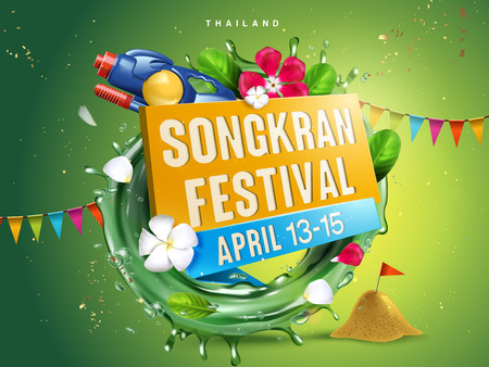 songkran festival illustration with aqua ring, flowers and water gun, green background, 3d illustration