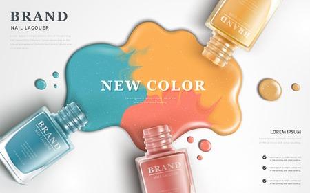 Piękne gwóźdź laki reklamy, odgórny widok kolorowy gwoździa połysku splatter na białym tle, 3d ilustracja, mod reklamy dla projekta