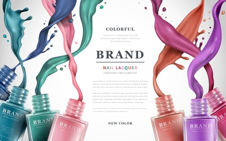 Colorful nail lacquer ads, nail polish splatter on white background, 3d illustration, vogue ads for design Vettoriali