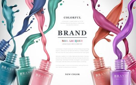 Anuncios de laca de uñas de colores, salpicaduras de esmalte de uñas sobre fondo blanco, ilustración 3d, anuncios de moda para el diseño