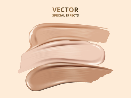 tricolor foundation effects, foundation texture on beige background, 3d illustration