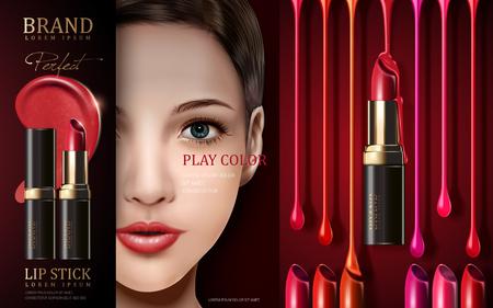 fascinação: ad batom cosméticos, com o rosto modelo e luz do estágio, ilustração 3d Ilustração