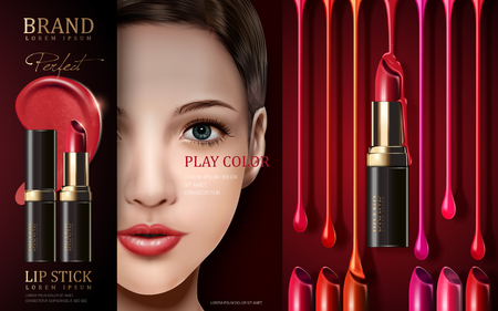 stage makeup: cosmetic lipstick ad, with model face and stage light, 3d illustration