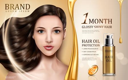 Protezione di olio di capelli contenuta in bottiglia con il volto di modello, sfondo dorato illustrazione 3d Archivio Fotografico - 74540108