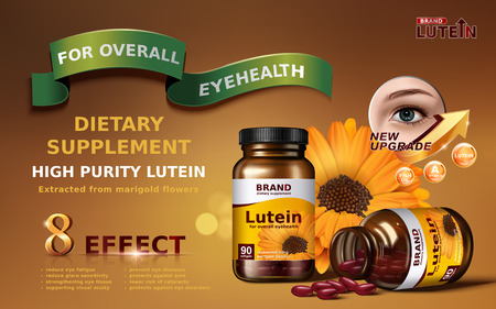 high purity lutein contained in jar with smaller calendula element and eye close up, 3d illustration