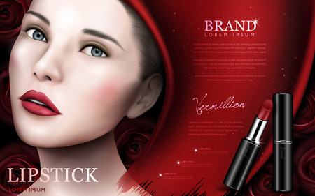 red lipstick ad with model face and rose elements, red background 3d illustration Imagens - 74726999