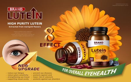 eye close up: high purity lutein contained in jar with big calendula element and eye close up, 3d illustration