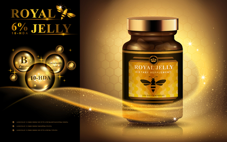 royal jelly ad with light streak and shining bubbles, golden background 3d illustration Vectores