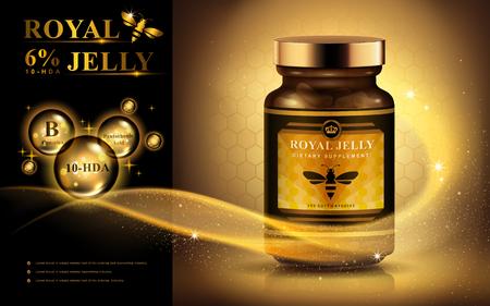 Koninklijke gelei advertentie met lichte streep en glanzende bubbels, gouden achtergrond 3d illustratie