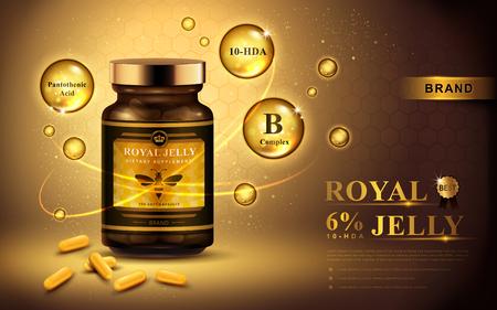 ローヤル ゼリー カプセルと輝く泡、金色の背景 3 d イラストレーション広告