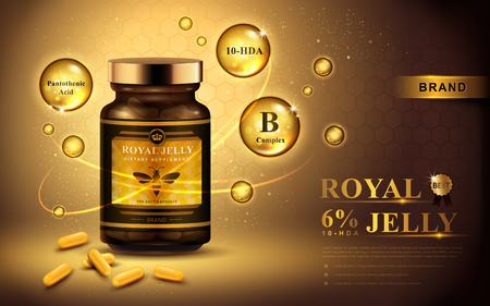 royal jelly advertentie met capsules en glanzende bellen, gouden achtergrond 3D-afbeelding