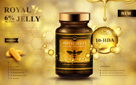 royal jelly ad with capsules and dropping fluid, golden background 3d illustration