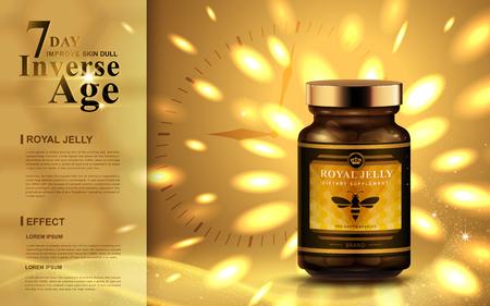 밝은 황금 빛을 가진 로얄 젤리 광고, 시계 배경 3d 일러스트 일러스트
