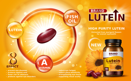high purity lutein contained in jar with calendula element, 3d illustration Zdjęcie Seryjne - 74727025