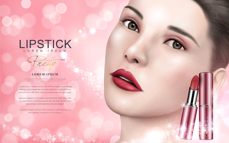 pink lipstick ad with model face, pink bokeh background 3d illustration Imagens - 74727026