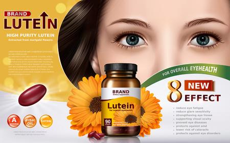 de alta pureza de luteína contenido en el tarro con elementos de caléndula y la cara del modelo, ilustración 3d