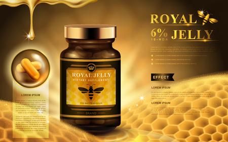 royal jelly advertentie met capsules, honingraat, en het laten vallen van vloeistof, gouden achtergrond 3D-afbeelding
