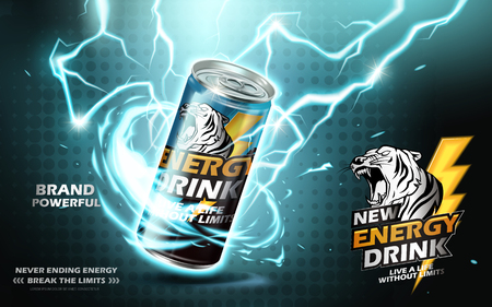 energy drink: Energy drink contained in metal can with electricity current element, teal background 3d illustration