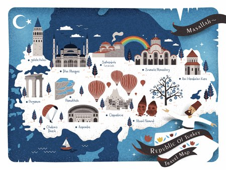 Turkey travel map and Turkish words for how great at the upper right corner, galata tower on the left side and ruins of ani on the right side
