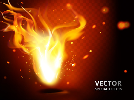 Small flame element that can be used as special effect, red background