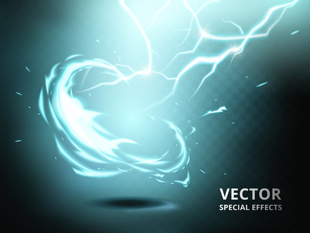 electricity current element that can be used as special effect, teal background Illustration