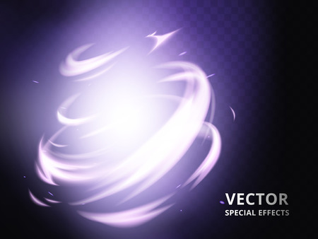 Mysterious twister element that can be used as special effect, purple background Vetores
