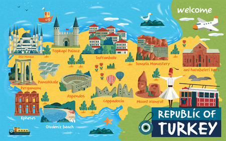 Turkey travel map and Turkish words for cotton castle on the left side, saffron city in the middle and ruins of ani on the right side Illustration