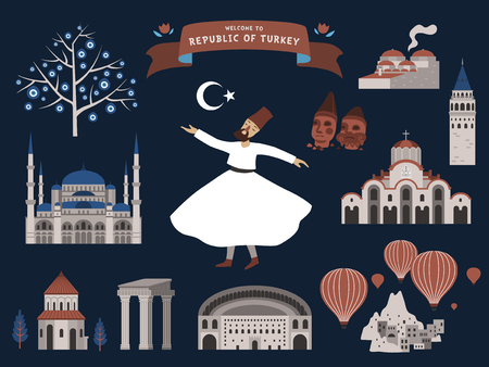 sights: Turkey travel illustration with signs of famous attractions, deep blue background Illustration