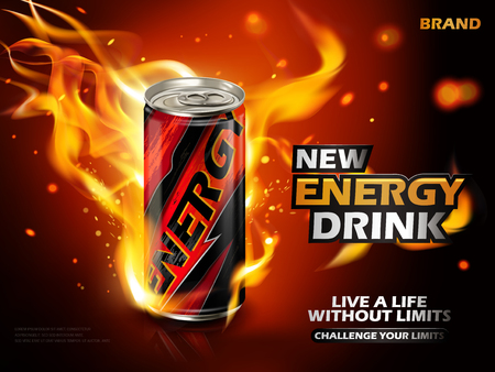 energy drink: energy drink contained in metal can with flame element, red background 3d illustration
