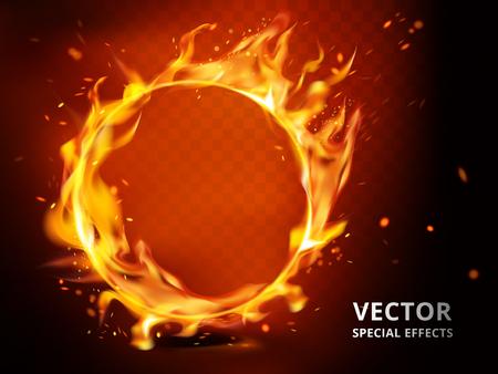 Vlammend hoepelelement dat kan worden gebruikt als speciaal effect, rode achtergrond Stock Illustratie