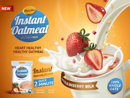 Aardbeienhaadmeel advertentie, met melk gieten in een kopje en aardbeien elementen, 3d illustratie