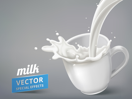 Milk pouring into a tilt blank cup on the right side, 3d illustration