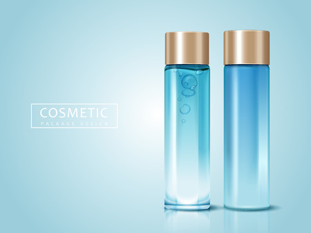 blank cosmetic bottles for design uses, can be used as design elements, light blue background 3d illustration Illustration