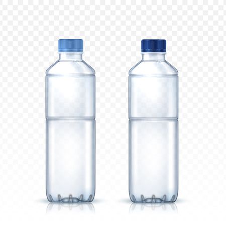 two blank water bottle models for design uses, transparent background 3d illustration Illustration
