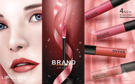 cosmetic ad with beautiful model face, for commercial uses, 3d illustration