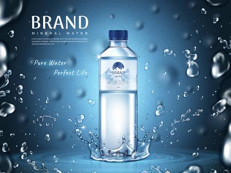 puro annuncio di acqua minerale, bottiglia di plastica in mezzo e volanti elementi di goccia d'acqua, sfondo blu 3d illustrazione