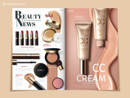 Creamy color cosmetic magazine or catalog design for commercial uses, 3D illustration