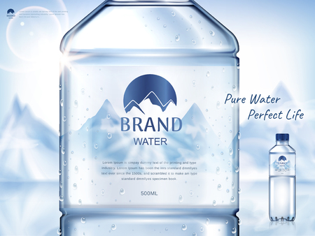 pure mineral water ad, with bottle close up in the middle and smaller bottle on the right side, snow mountain background 3d illustration