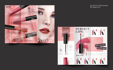 two sides of a cosmetic trifold brochure for commercial uses, 3d illustration Illustration