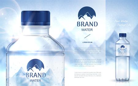 Ad agua pura mineral, con la botella de cerca en el lado izquierdo y una botella más pequeña en el lado derecho, ilustración de fondo de la montaña de nieve 3d