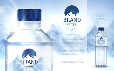 pure mineral water ad, with bottle close up on the left side and smaller bottle on the right side, snow mountain background 3d illustration Ilustracja