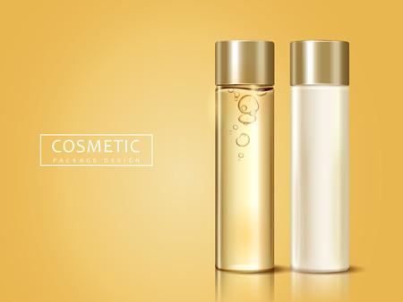lege cosmetische flessen voor ontwerpgebruik, kunnen worden gebruikt als ontwerpelementen, gouden achtergrond 3d illustratie
