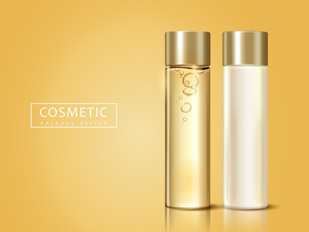 blank cosmetic bottles for design uses, can be used as design elements, golden background 3d illustration