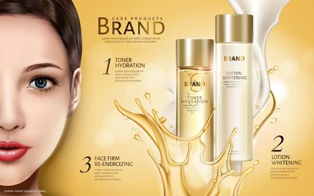 kosmetische productenadvertentie met half modelgezicht en tweekleurige vloeibare elementen, 3d illustratie