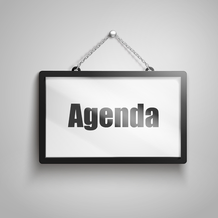 Agenda text on hanging sign, 3d illustration