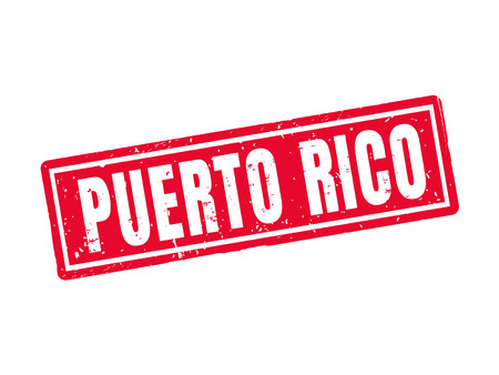 Puerto rico in red stamp style