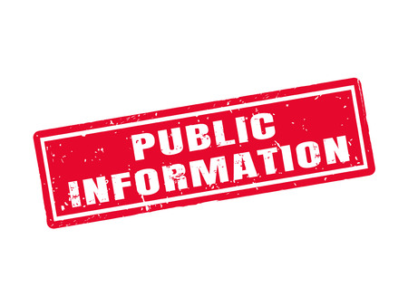 Public information in red stamp style
