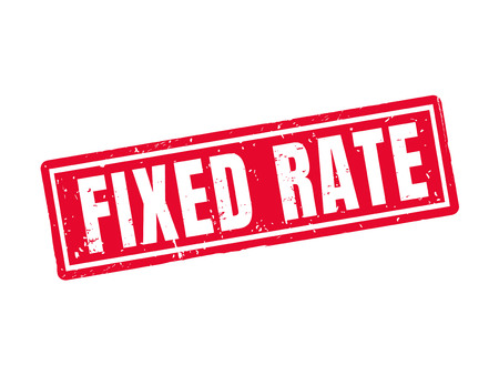 fixed rate in red stamp style, white background