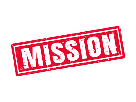 Mission in red stamp style