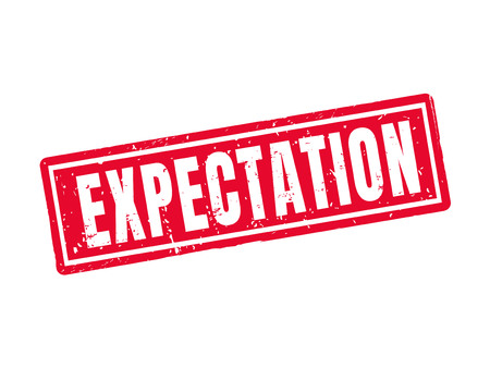 Expectation in red stamp style